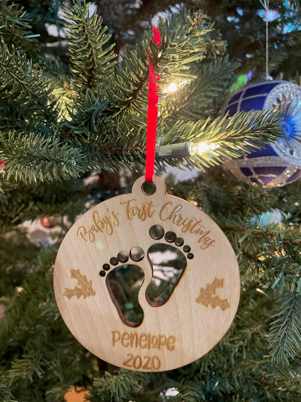 Personalized Baby's First Christmas 2020 Laser Cut Feet Wooden ornament