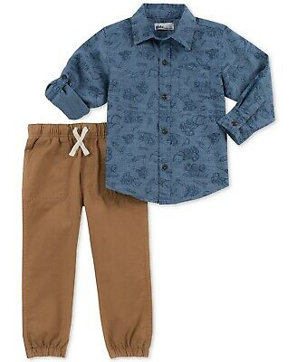 NEW Kids Headquarters Baby Boys 2 Piece Truck Print Shirt & Twill Jogger Pants