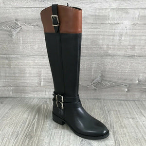 NIB $179.50 INC International Concepts Frankii Riding Boots, Black/Cognac Sz 5M