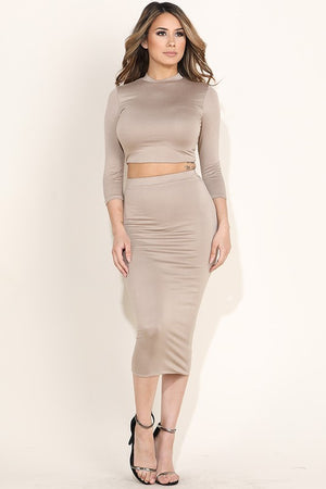 Anna Crop Top and Skirt Nude Set