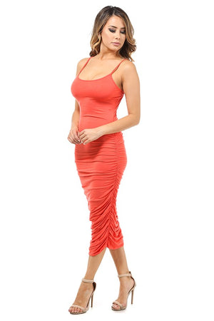 Aria Ruched Tank Coral Dress