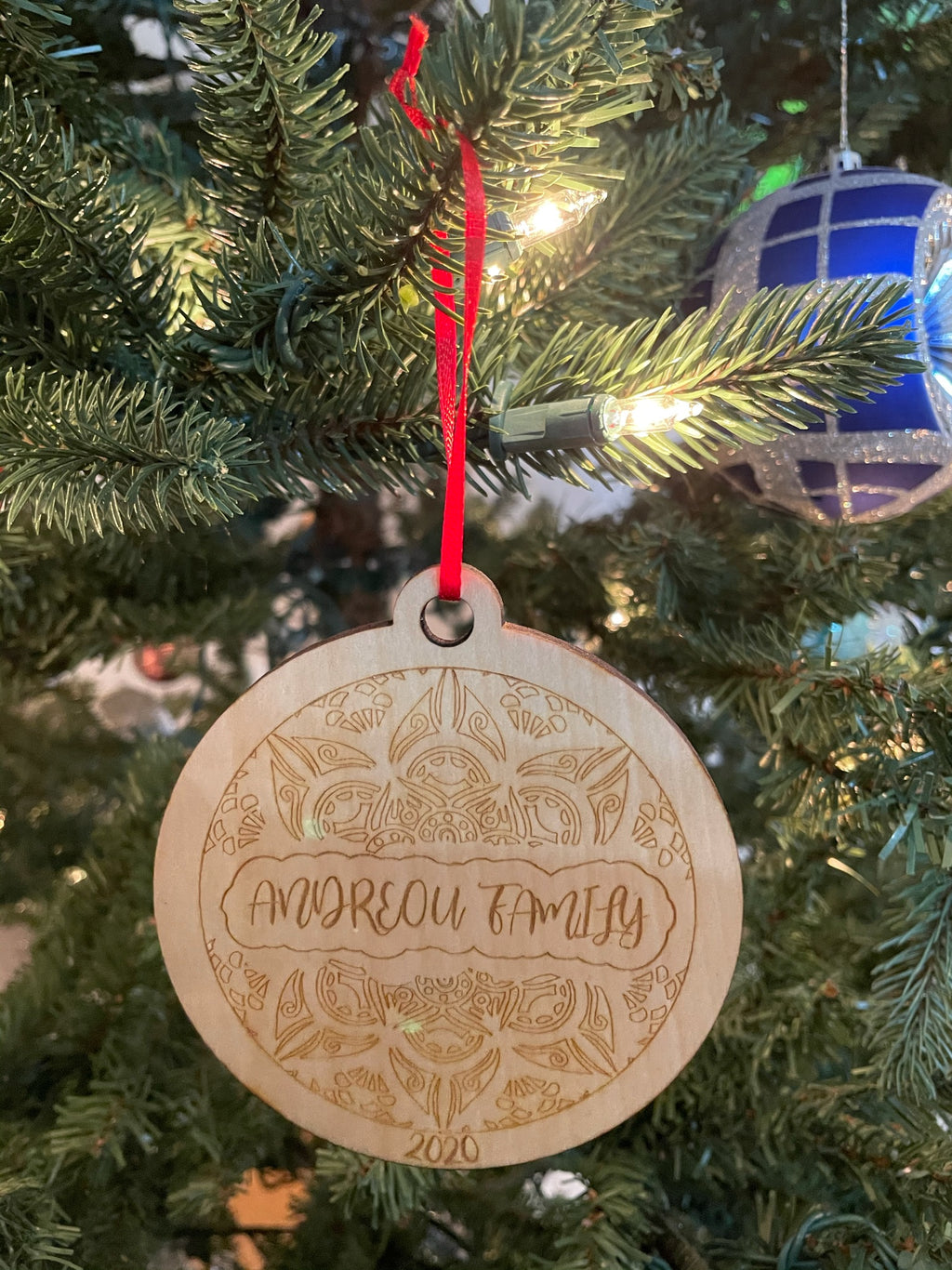 Personalized Laser Cut Wooden Ornament