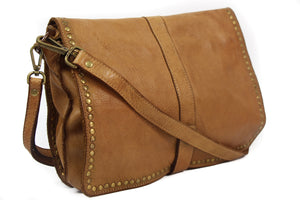 NEW Andreou and Bianchi Vintage Italian Soft Washed Calfskin Leather Crossbody Wristlet Shoulder Bag
