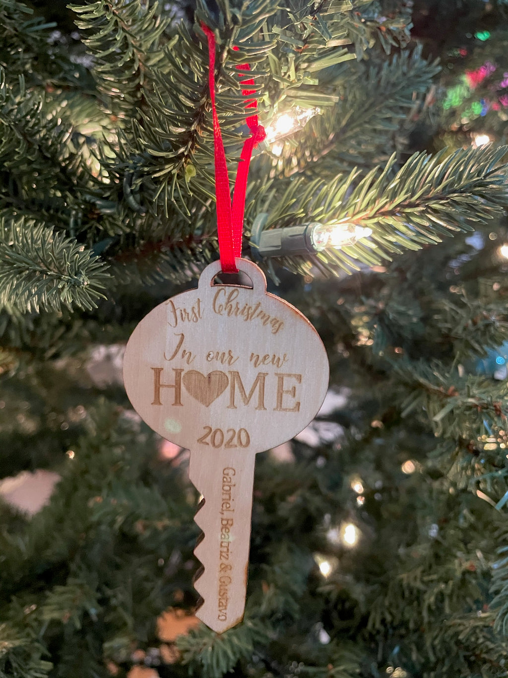 Personalized First Christmas in our New Home Laser cut Wooden Ornament