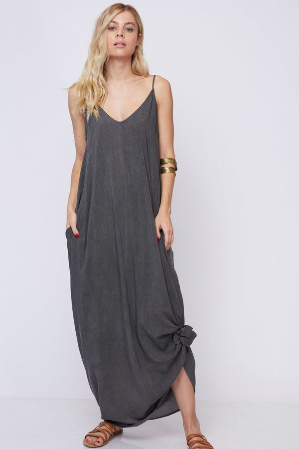 Hazel Washed Cami Charcoal Maxi Dress