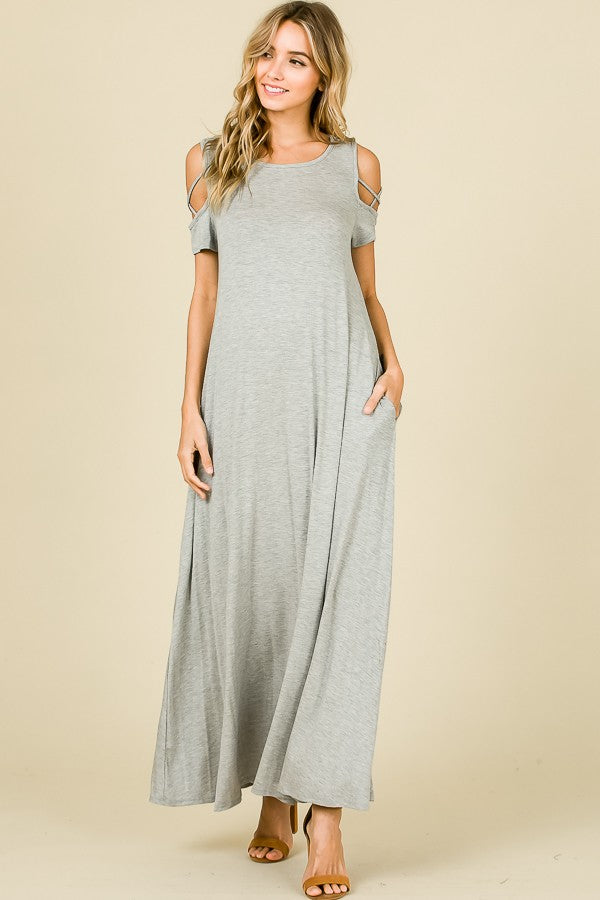 Barbara Open Shoulder Maxi Dress