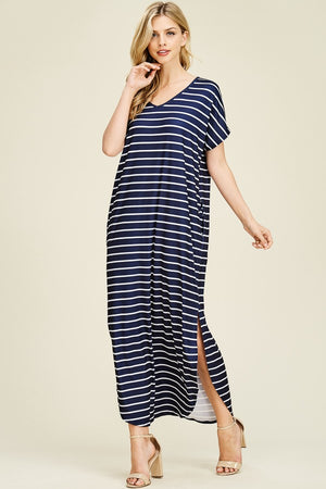 Faith Striped Side Slit Maxi Dress