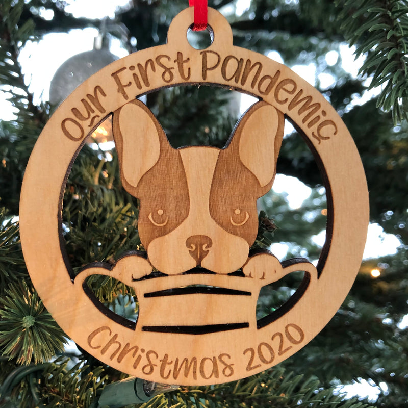 Our First Pandemic Puppy Christmas 2020 Laser Cut Wooden Ornament