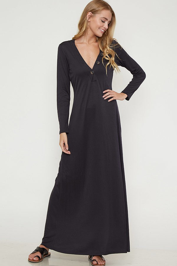 Lauren Button Trim Maxi Dress