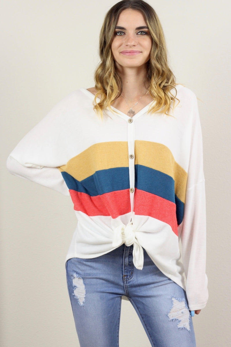 Vivian Button Down Color Block Sweater