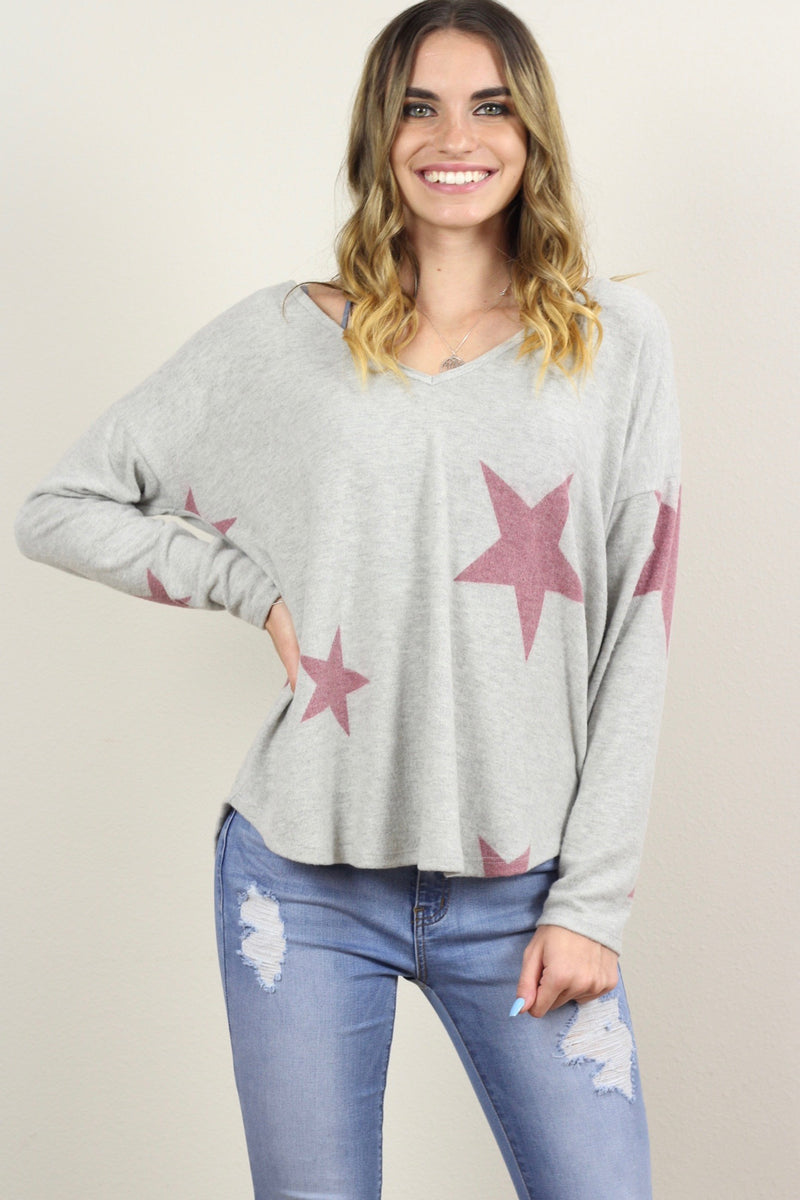Alice Sleeve Star V Neck Sweater