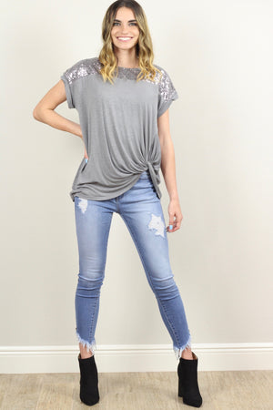 Alexa Sequined Drop Shoulder Slub Top