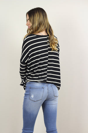 Amber Striped Long Sleeve Knit Top