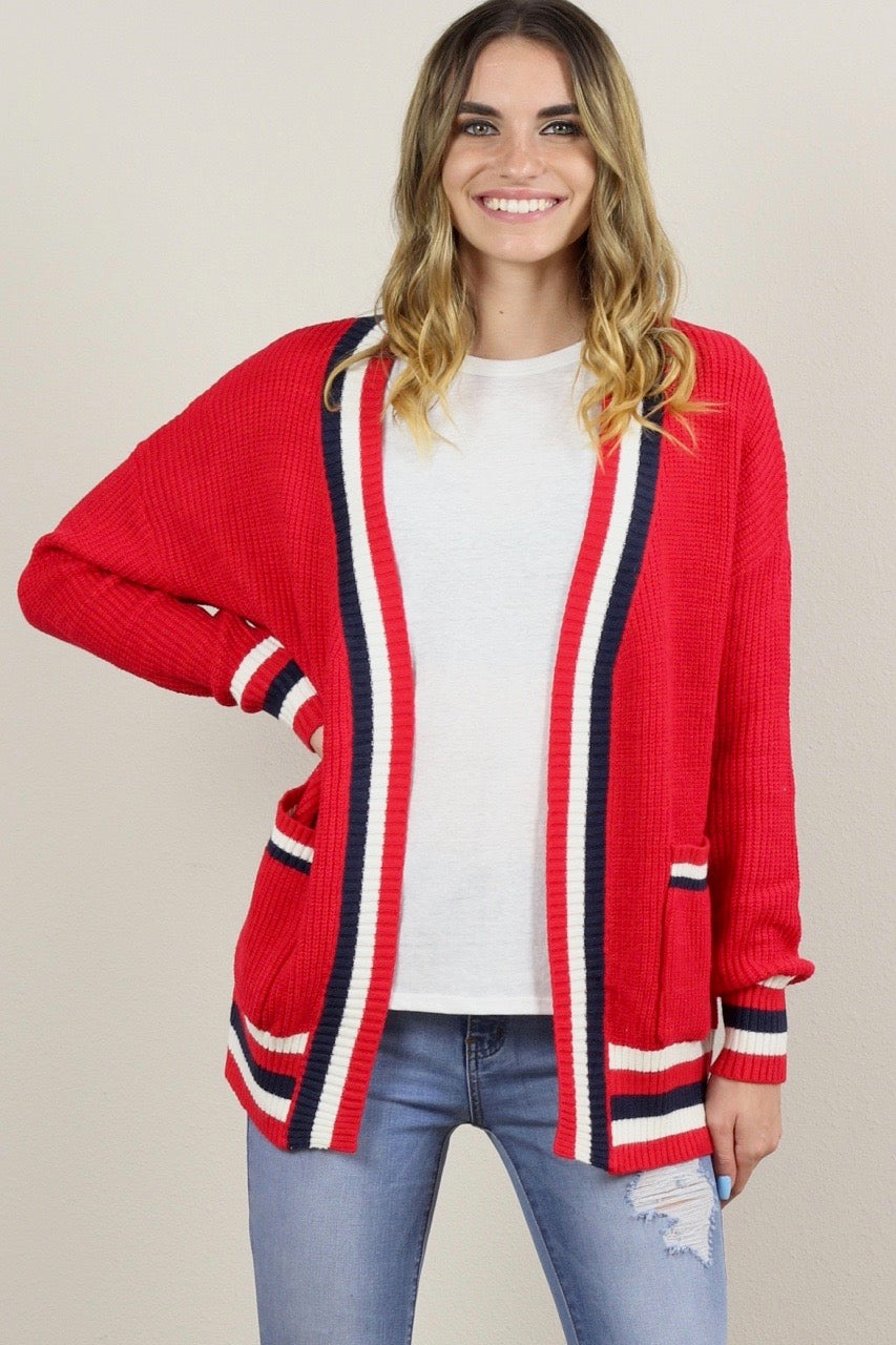 Gigi Stripe Knit Sweater Cardigan