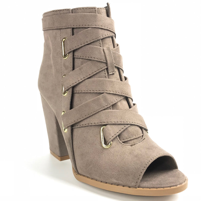 Ellie Taupe Ankle Open Toe Booties