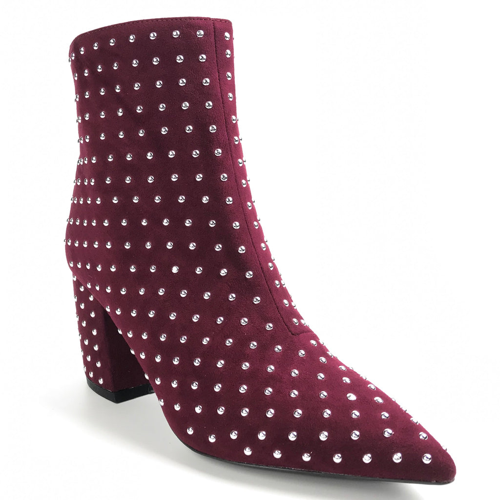 Naomi Studded Burgundy Ankle Booties