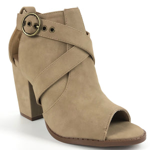Maisie Open Toe Suede Like Distressed Booties