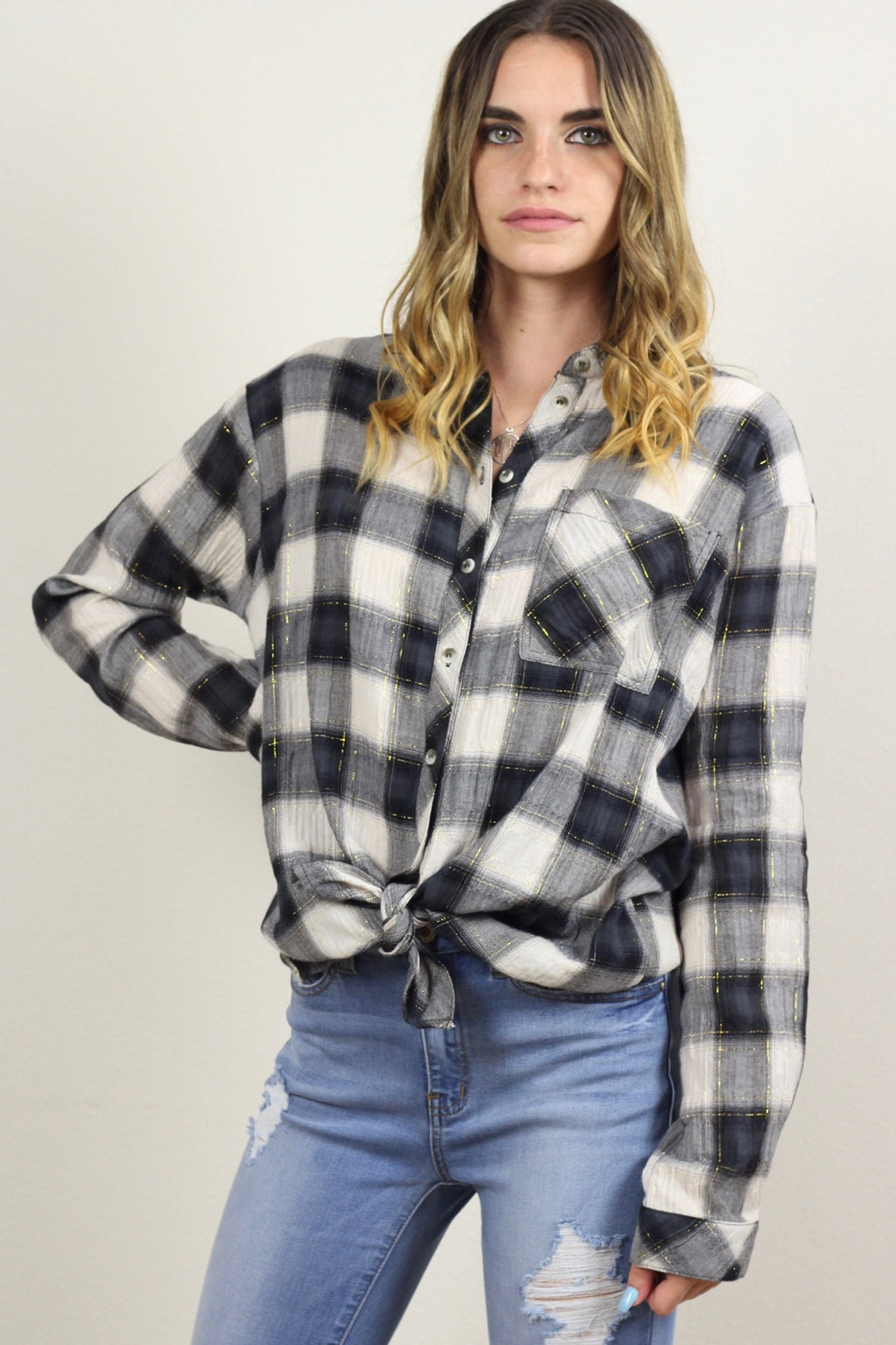Daisy Classic Plaid Button Down Shirt