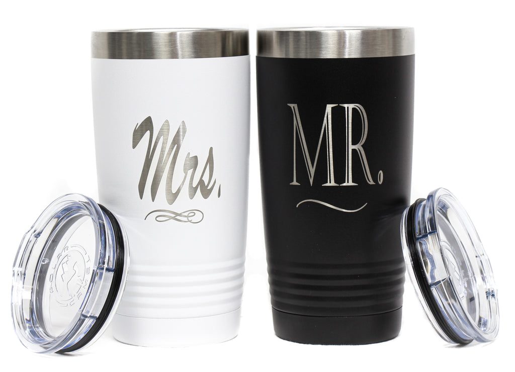 NEW Polar Camel Stainless Steel Mr. and Mrs. Travel Tumbler Set
