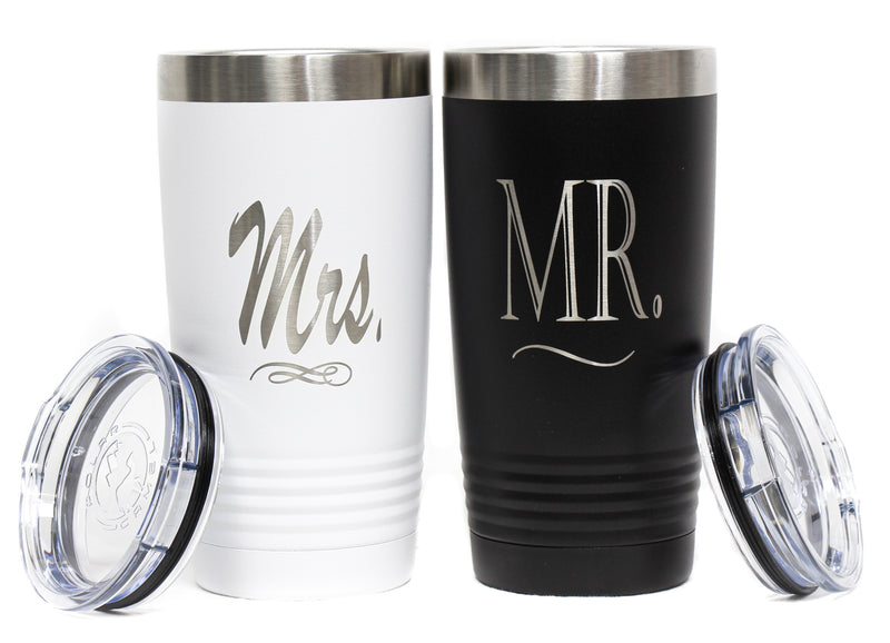 NEW Powder Coated Stainless Steel Mr. and Mrs. Travel Tumbler Set
