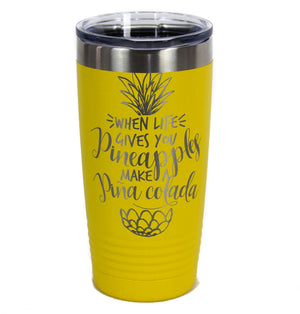 NEW Powder Coated Stainless Steel Pina Colada Travel Tumbler