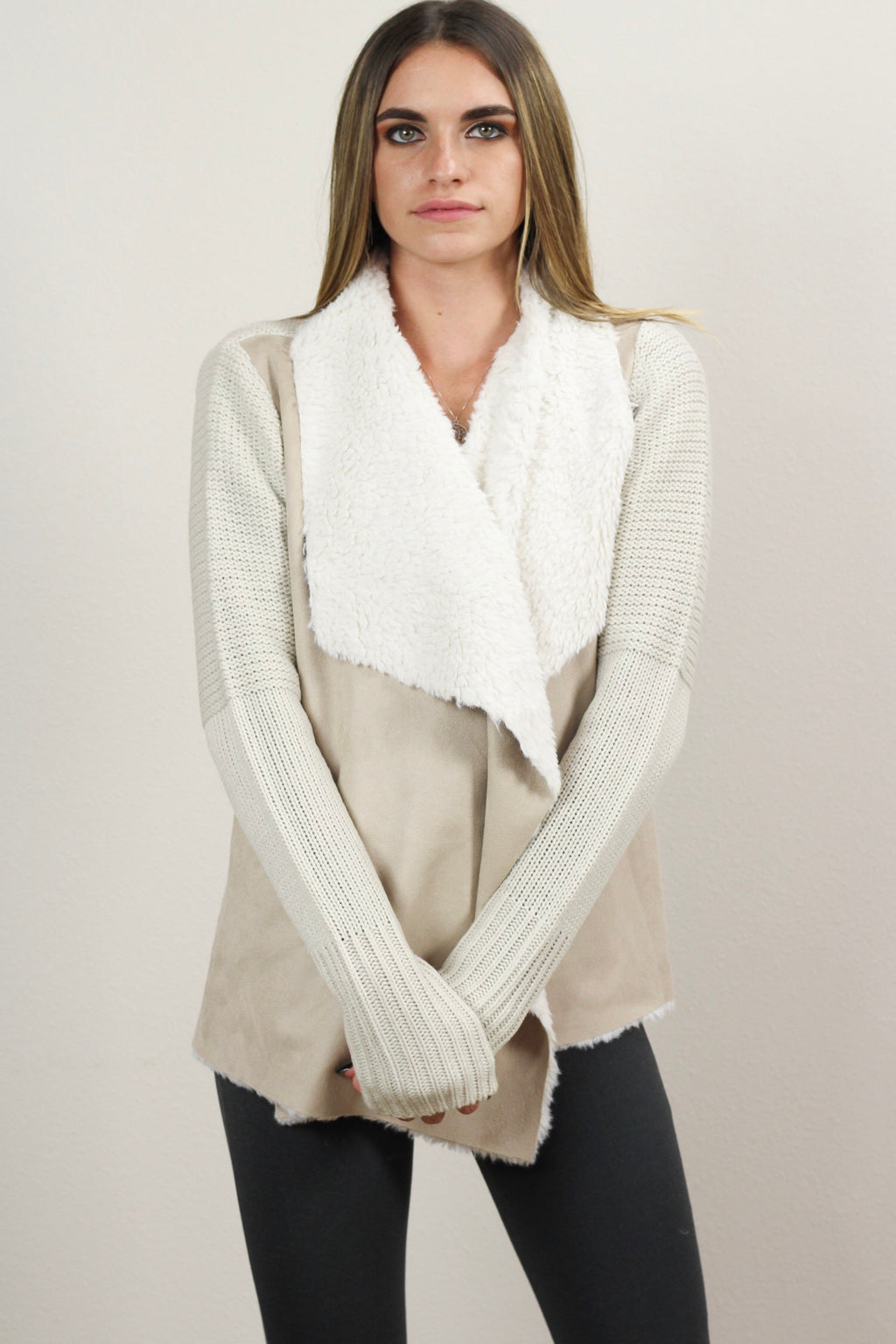 Alexandria Draped Suede Open Cardigan