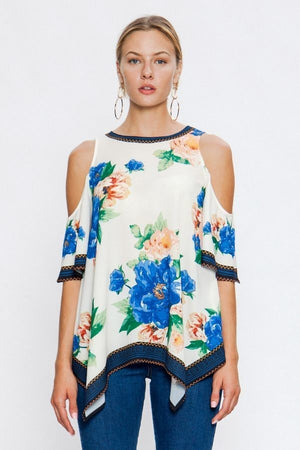 Darcey Floral Open Shoulder Top