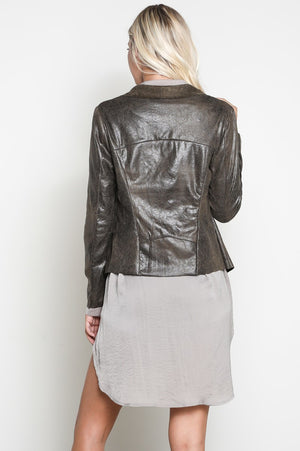 Kimberly Vegan Faux Suede Draped Collar Flyaway Jacket
