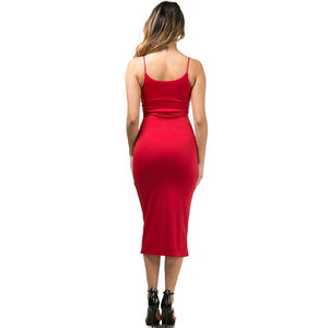 Felicity Front Slit Red Midi Dress