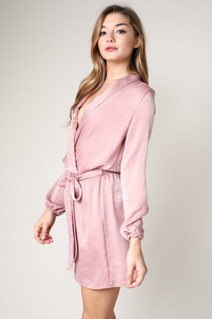 Octavia Long Sleeve Over Lap Dress