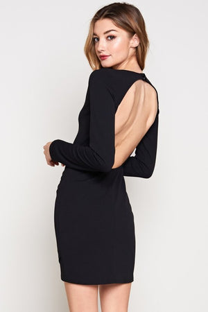 Opal Long Sleeve Open Back Mini Dress