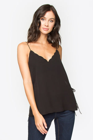 Paisly Scalloped Tank Top with Lace Detail