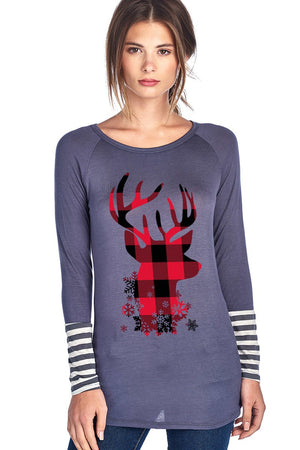 Quinn Plaid Reindeer Head Design Christmas Graphic Tee