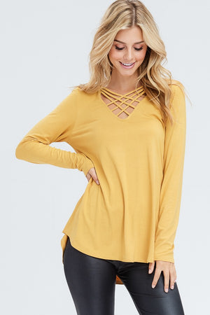 Althea Criss Cross Solid Knit Top