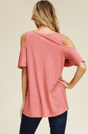 Anastasia Open Shoulder Solid Knit Top