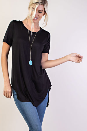 Lorraine Soft Short Sleeve Basic Top, Black