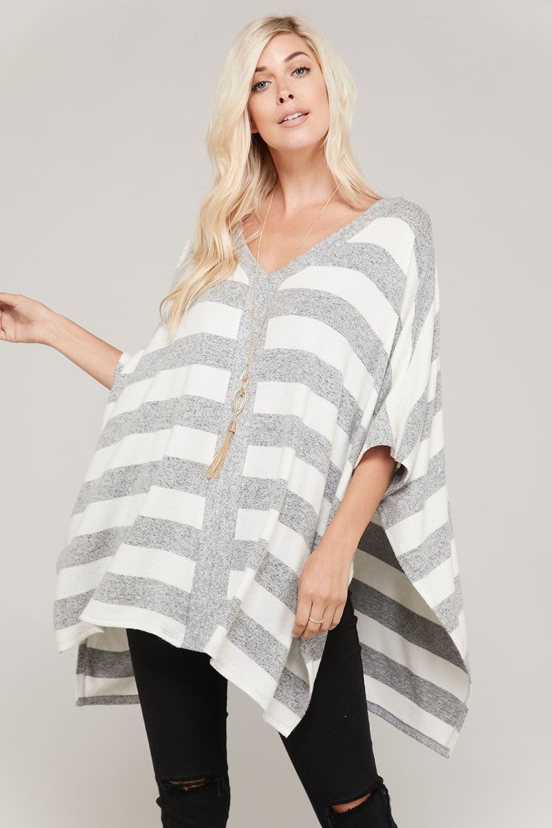 Caroline Soft Oversized Stripes Poncho Top
