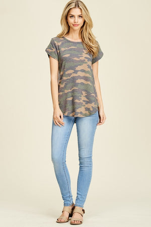 Allie French Terry Camo Print Top
