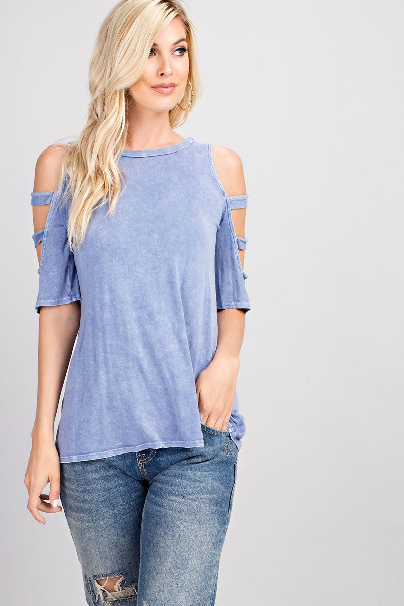 Jana Mineral Washed Sleeve Detail Knit Top