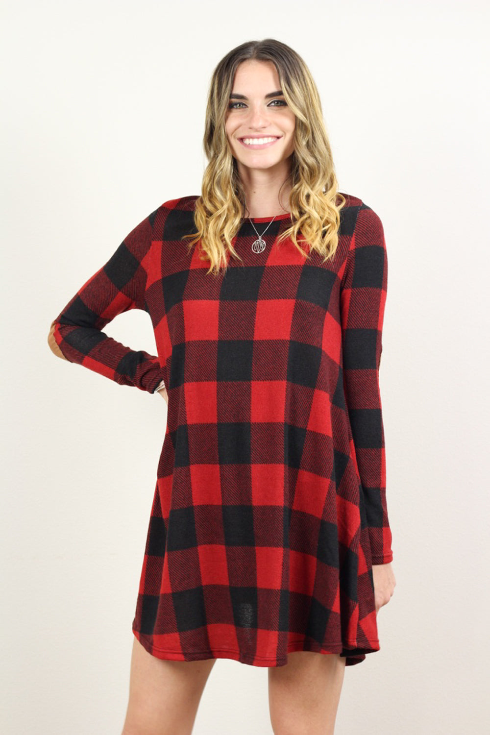 Adriana Long Sleeve Plaid Shift Dress