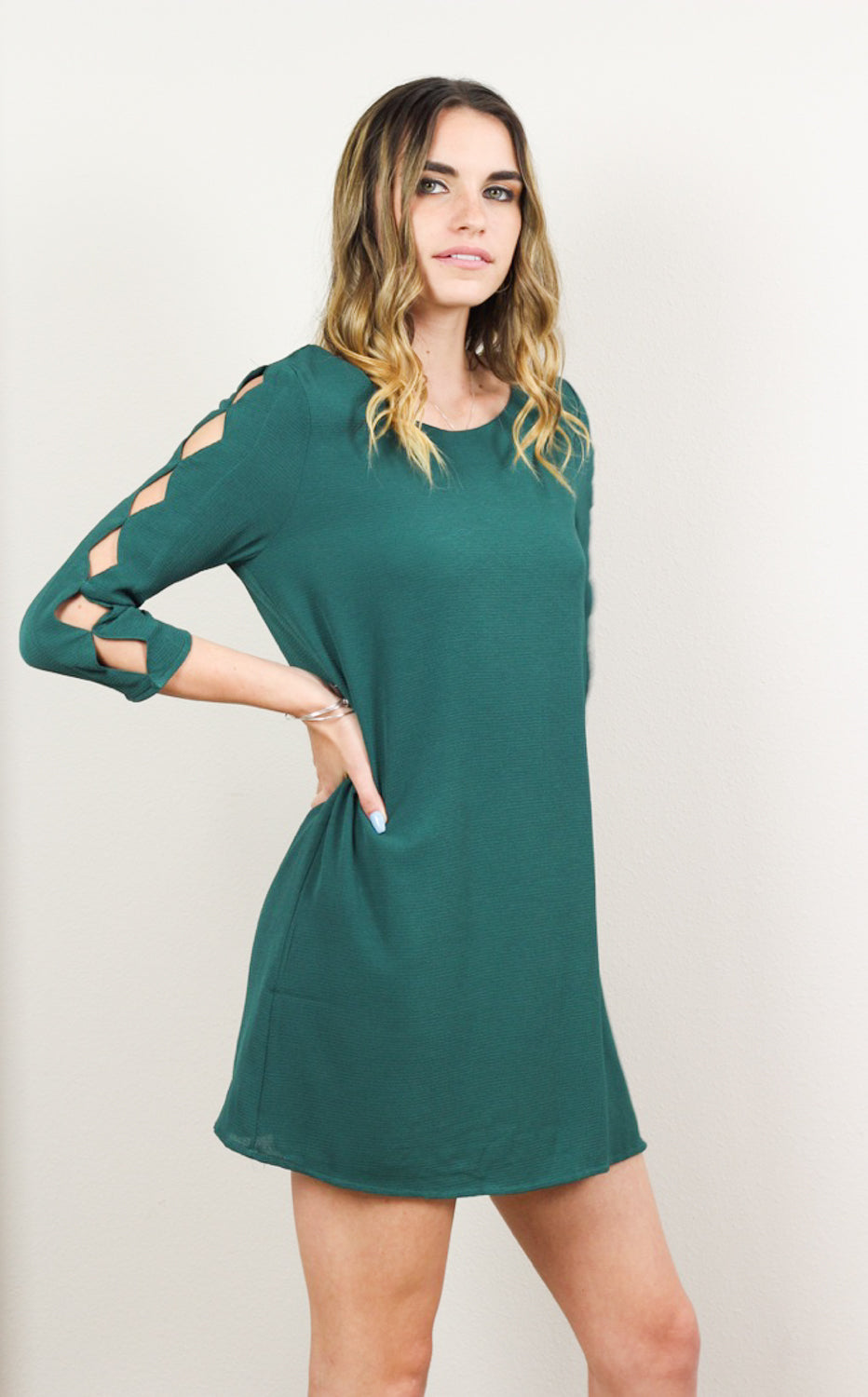 Autumn Diamond Cutout Green Woven Dress