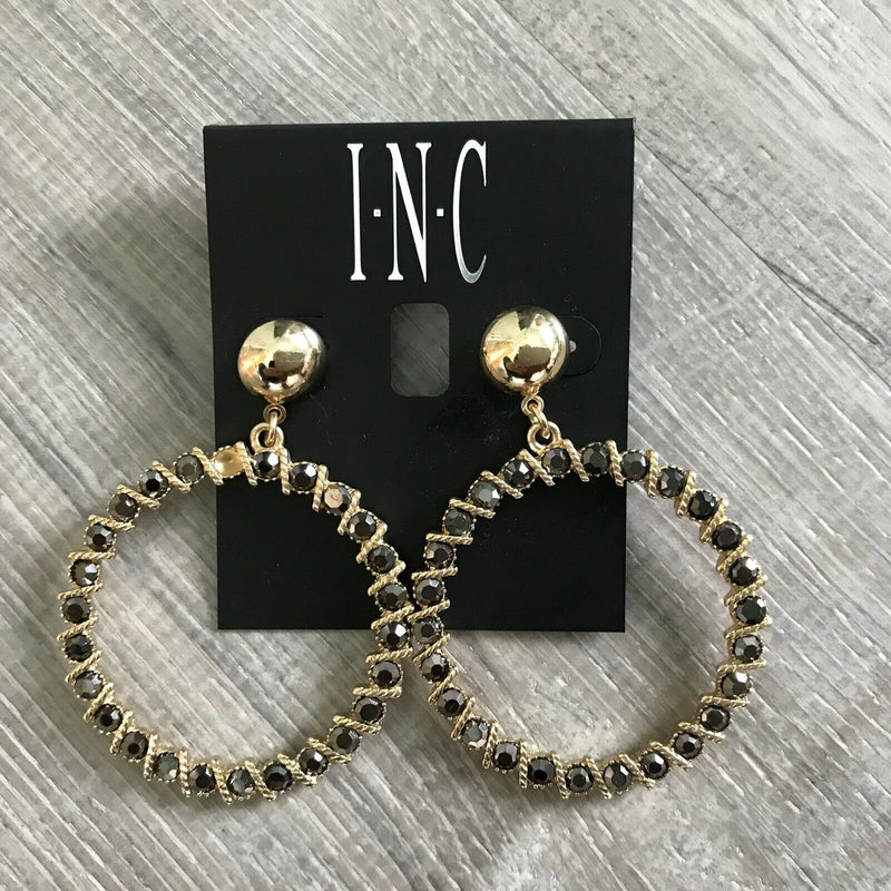 NEW INC International Concepts Gold Tone Glass Stone Gypsy Hoop Earrings