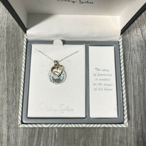 NIB INSPIRATIONAL Sterling Silver Reversible 2 Tone Necklace