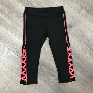 NWT Ideology Big Girls Caged Capri Leggings, Black Sz. M