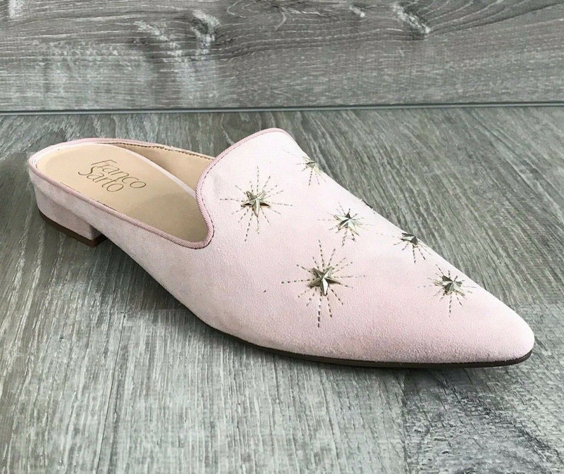 NIB $89 Franco Sarto Samanta Starburst Mules, Light Pink