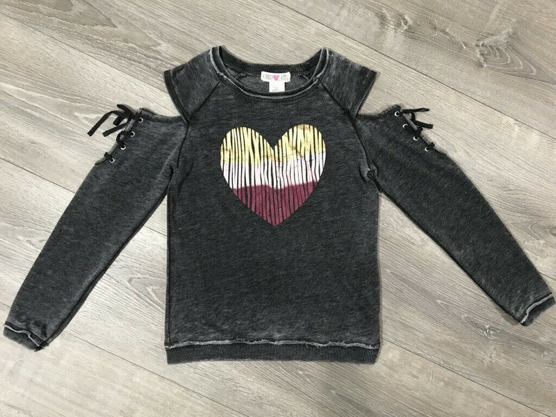 NWT Kandy Kiss Big Girls Heart Print DistressedSweatshirt, Sz. M