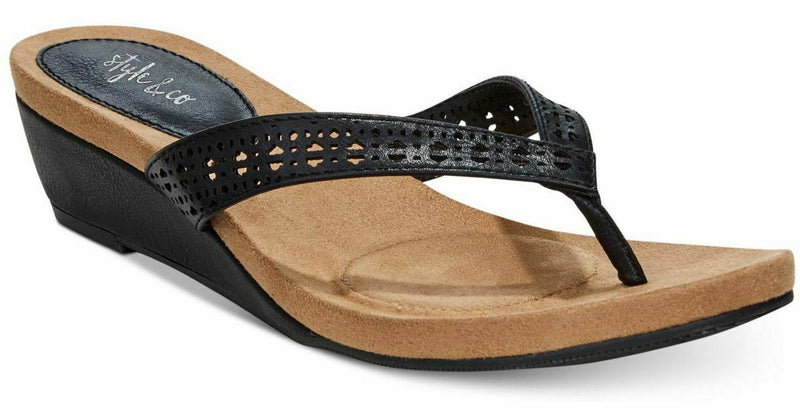 NIB Style & Co Haloe Wedge Thong Perforated Sandals, Black Sz. 7M