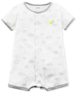 Carters Baby Girls Cloud-Print Cotton Snap Up Romper, Sz. 12M