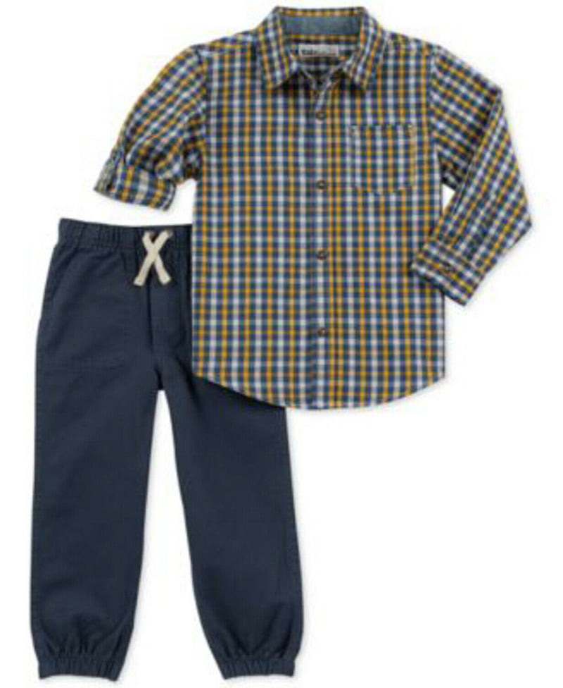 NEW Kids Headquarters Baby Boys 2 Piece Plaid Shirt and Pants Set, 6-9M
