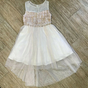 NEW Rare Editions Toddler Girls/Girls High Low Tweed Mesh Dress